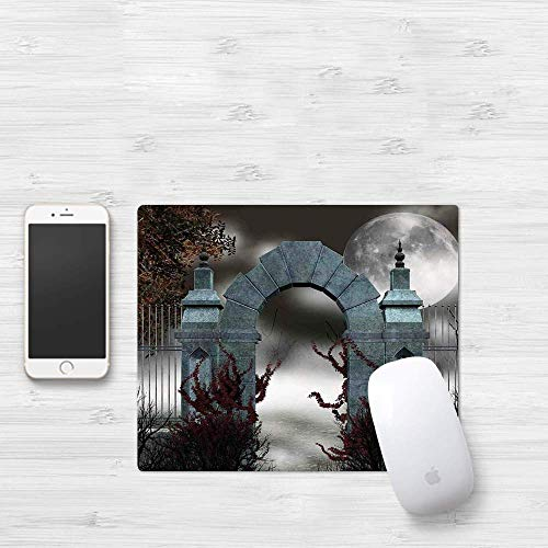 Gaming Mouse Pad,  Gothic,  Scary Medieval Middle Age Stone Gate with Fog Full Moon and Ivy Dark Night Theme Art,  Grey Red,  Thick Waterproof Mouse Mat Gaming Functional Antidérapant Functional Rubber Ba