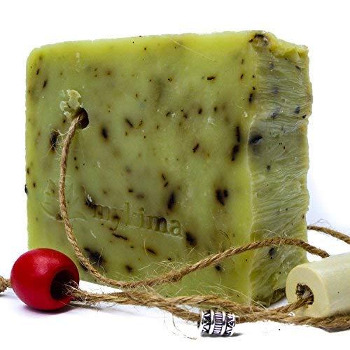Handgemachte, kaltgerührte Schafmilchseife Zitronenmelisse 150gr | Naturseife liebevoll verpackt im Leinensackerl