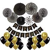Diossad Fiesta de cumpleaños Decoración Happy Birthday banderín Banner Guirnalda Honeycomb Papel Linterna Globo Lluvia cortina Borla Papel Flor Bola de Seda y Globos para niñas y niños Edades Papel