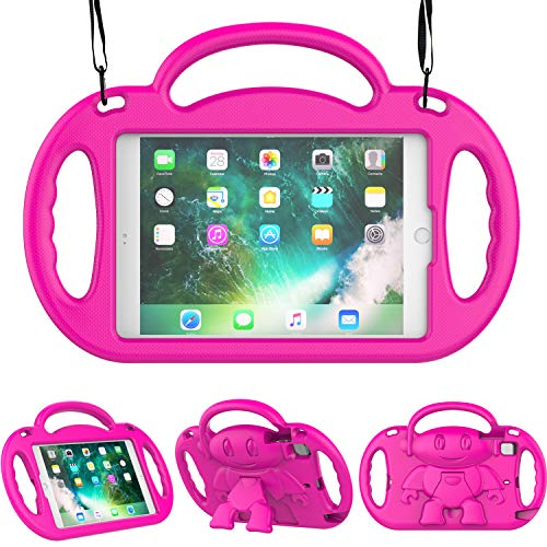 TIRIN Kids Case for iPad Mini 1/2/3/4/5,iPad Mini Kids Case - Shock Proof Smart Handle Stand Kids Case with Shoulder Strap for iPad Mini,iPad Mini 2nd,3rd,4th Gen,iPad Mini 5th Gen 2019, Rose