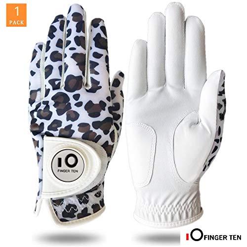 FINGER TEN Golfhandschuh Damen Linke Hand Rechte Mit Ball Marker Allwetter Leder Griff Mode Bedruckter Golf Handschuh Links Rechts Weicher Komfort Passform (Leopard M-Links)