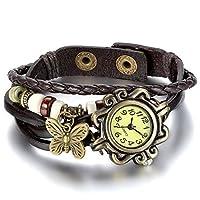 """MARKE: JewelryWe; Material: Leder, Legierung; Werk: Quarz. Farbe: Kaffee Armbanduhr Größe:Gesamtlänge: 8.07""""(20.5cm), Gehäusedurchmesser: 0.74""""(1.89cm), Dicke: 0.28""""(0.72cm), Bandbreite: 0.48""""(1.23cm), Gewicht: 29G Lebenswasserdicht: Wasserdicht mit ..."""