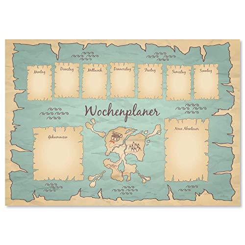 """Schreibtischunterlage """"Schatzkarte"""" aus Papier   DIN A3   24 Blatt   Für Kinder und Erwachsene   Ideal als Notizblock, Organizer, Wochenplaner & Tagesplaner"""