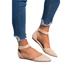 174e64c42a1 Dellytop Womens Pointed Toe Flat Sandals Ankle Strap Flats D  .
