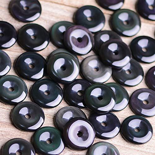 GZMUS 3 Unids Establecido Natural 6A Arco Iris Oculto Hielo Obsidiana Antigua Moneda Paz Nudo Colgante Natural Semiprecio Piedras Preciosas Bricolaje Accesorios,Colorful Eyes