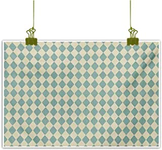 Mannwarehouse Geometric Simulation Oil Painting Rhombus Pattern with Retro Design Inspirations Vintage Argyle Arrangement Decorative Painted Sofa Background Wall 35