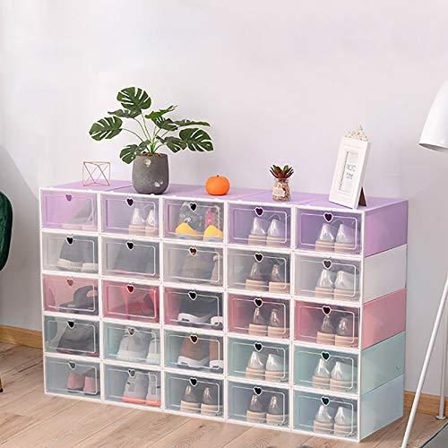 20 cajas apilables de plástico transparente para guardar zapatos, para el hogar, 33 x 23 x 14 cm, color blanco, verde, rosa, lila, azul (opcional)