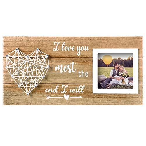 Jetec Marco de Fotos Romántico de Parejas Marco de Cuadros Rústico de I Love You Most The End I Will para Compromiso Novia Novio Día de San Valentín Aniversario Bodas 12 x 6 Pulgadas