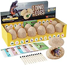 Dig a Dozen Dino Eggs Dig Kit - Easter Egg Toys for Kids - Break Open 12 Unique Large Surprise Dinosaur Filled Eggs & Discover 12 Cute Dinosaurs. Archaeology Science STEM Crafts Gifts for Boys & Girls