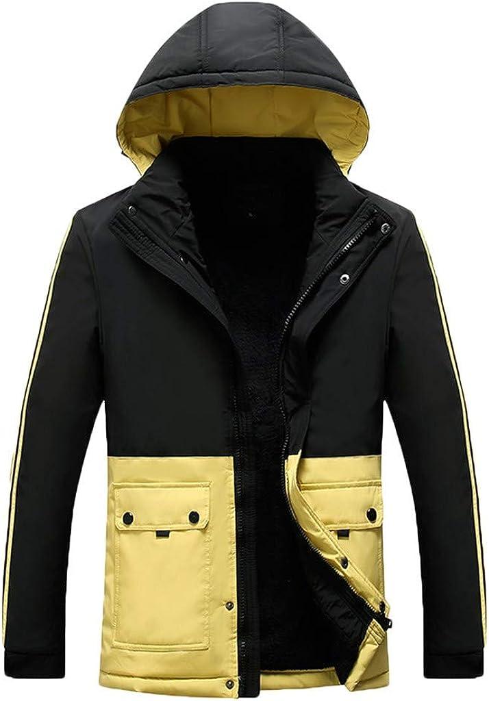 Men's Coat with Hood Long Sleeve Windproof Lightweight Warm Soft Winter Outwear Jacket