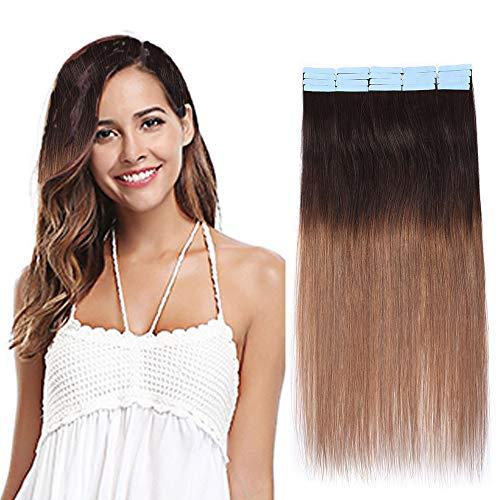 SEGO Extensions Adhesives Cheveux Naturels Bande Adhésif - 45CM 2T6#Marron Foncé + Châtain Clair 20 PCS 50g (2.5g/Pièces) - Tie and Dye Ombre