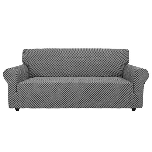 Chelzen Couch Cover Innovative Double-Color Sofa Covers for 3 Cushion Couch High Stretch Spandex Slipcover Living Room Anti Slip Pet Dog Proof Furniture Protector (Sofa, Dark Gray Checkered)