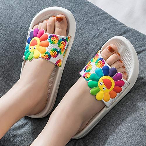 YYFF Palabra de Mujer con Sandalias,Zapatillas de casa Gruesas, mudas, de Arena, de baño-Blancas_36-37,Zapatillas de Estar por Casa Ultraligera