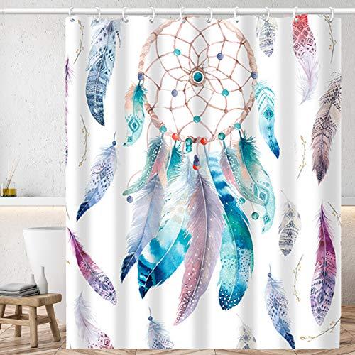 Huryfox Wasserdichter Duschvorhang-Set mit 12 Haken, Badezimmer-Dekor-Gardinen, Bauernhaus-Badevorhang für Badewanne (weiße Feder, 183 x 183 cm)