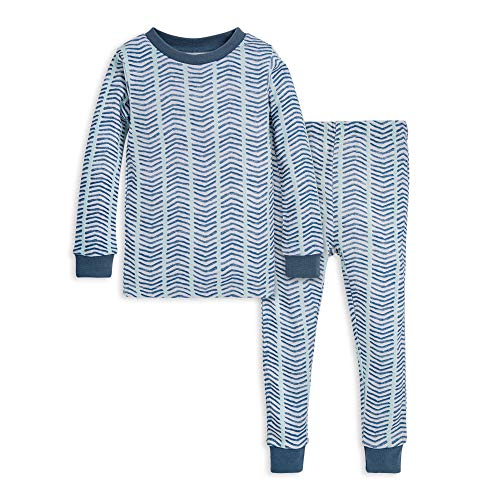 Burt's Bees Baby Baby Boys' Little Kids Pajamas, Tee and Pant 2-Piece PJ Set, 100% Organic Cotton, Blue Watercolor Chevron, 6 Years