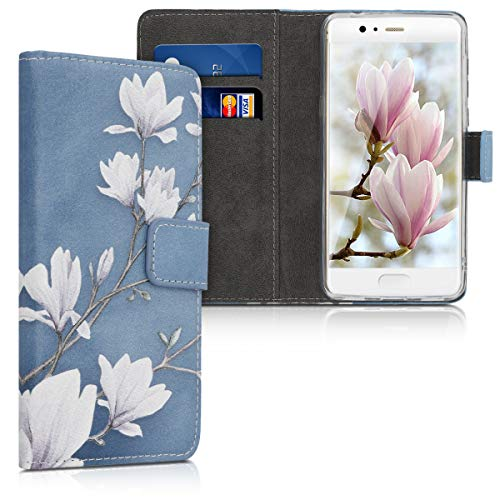 kwmobile Funda Compatible con Huawei P10 - Carcasa de Cuero sintético Magnolias - con Tarjetero