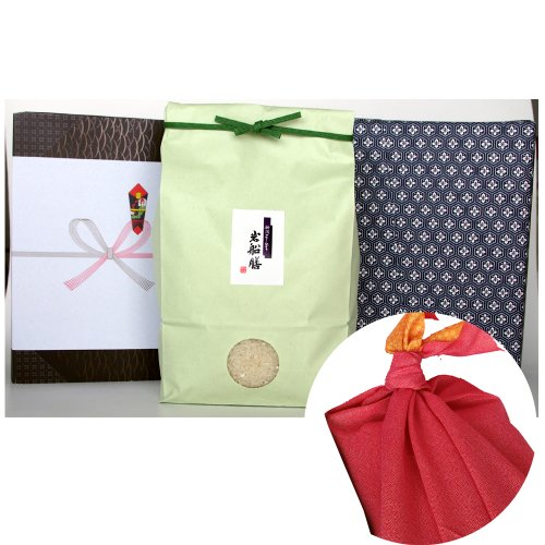 新潟県産コシヒカリ (アイガモ農法・米袋:緑・包装紙:青・風呂敷:赤)3キロ