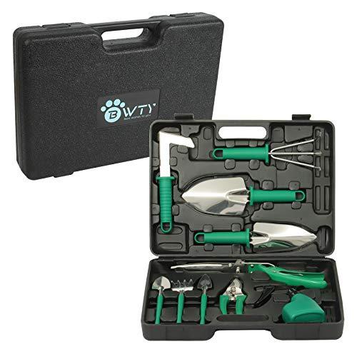 BWTY Juego de herramientas de jardinería, 10 piezas de acero inoxidable para jardín con una maleta, regalos de jardinería para mujeres, hombres y jardineros (verde).