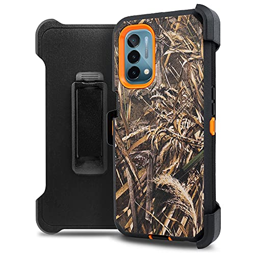 Jackpot Wireless Compatible with OnePlus Nord N200 5G Case, Nord N200 Case with Built In Screen Protector, Swivel Belt Clip Holster Kickstand, Heavy Duty Armor Shockproof Cover for 1+ Nord N200 (Camo)