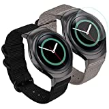 Zeit Diktator 2PCS Packing Watch Band for Samsung Gear S2 Watch,20mm Nylon Band with Screen Protection Firm Compatible with Samsung Gear s2 smartwatch (Black+Grey)