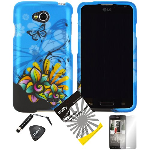 4 items Combo: ITUFFY (TM) LCD Screen Protector Film + Mini Stylus Pen + Case Opener + Design Rubberized Snap on Hard Shell Cover Faceplate Skin Phone Case for Prepaid Android Smartphone LG Optimus L70 MS323 Metro PCS / LG Optimus Exceed 2 VS450PP Verizon / LG Realm (Boost Mobile) LS620 / LG L70 Cricket (Blue Butterfly Flower)