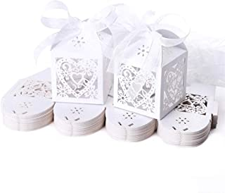 JZK 50x Blanco cajas papel caramelo bombones regalos