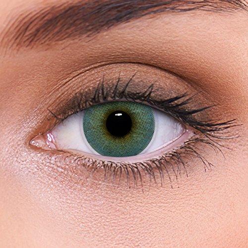LENZOTICA Sehr stark natürlich deckende blaue Kontaktlinsen farbig ATLANTIS BLUE + Behälter von LENZOTICA I 1 Paar (2 Stück) I DIA 14.00 I ohne Stärke I 0.00 Dioptrien