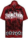 LA LEELA Casual Hawaiana Camisa para Hombre Señores Manga Corta Bolsillo Delantero Vacaciones Verano Hawaiian Shirt XXL-(in cms):137-149 Blood Rojo_W383