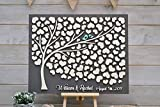 PotteLove Libro de visitas de boda 3D gris alternativo árbol corazones rústico boda libro de invitados único libro de visitas de madera árbol de la vida regalo de boda