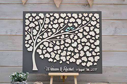 """PotteLove libro de invitados 3D gris para boda, diseño de árbol alternativo con corazones rústicos, ideal como regalo de boda, madera, 50x60cm(20""""x24"""")"""