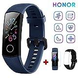 HONOR Band 5 Fitness Tracker Pulsmesser AMOLED 0,95 Zoll Smart Watch 5ATM wasserdichte Bluetooth 4.2 (Blau)