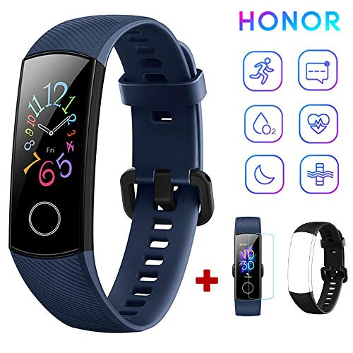 HONOR Band 5 Fitness Tracker Pulsmesser AMOLED 0,95 Zoll Smart Watch 5ATM wasserdichte Bluetooth 4.2 (Blau)