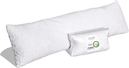 Coop Home Goods - Adjustable Body Pillow - Hypoallergenic Cross-Cut Memory Foam - Lulltra Zippered Washable Cover from Bamboo Derived Rayon - CertiPUR-US and GREENGUARD Gold Certified - 20x54