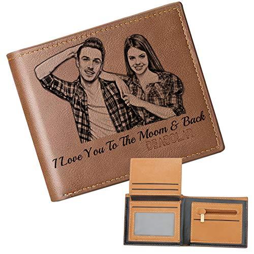 Personalizado de Foto Carteras, Grabada Monedero Personalizadas Minimalistas,Cuero Billetera Mujer,Regalos para Hombre Cartera (Marrón)