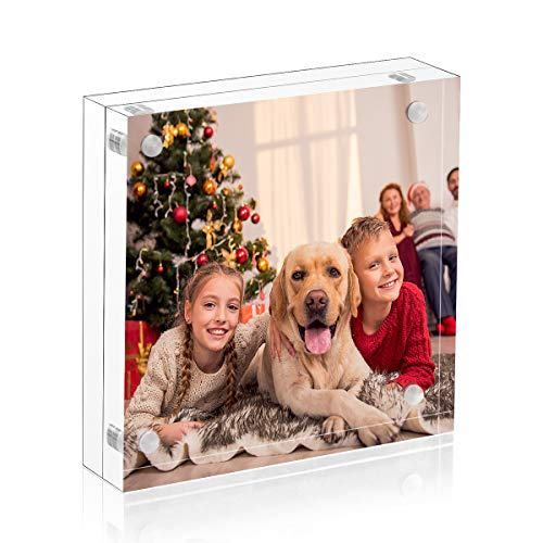 NIUBEE 5x5 Clear Acrylic Picture Frames 20% Thicker Blocks with Gift Box Package, Self Standing Magnetic Photo Frame, Frameless Desktop Card Display
