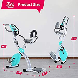 Murtisol Folding Exercise Bike Compact Foldable Stationary Bike Magnetic Resistance Control W/ Twister Plate, Arm Resistance Bands, Extra Large&Adjustable Seat and Heart Monitor Home Exercise, Blue