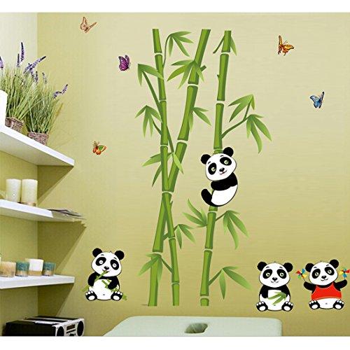 fashionbeautybuy - Adesivo da parete in bambù, motivo: panda, rimovibile, per soggiorno, camera da letto, cucina, in PVC, decorazione per porte e finestre + 3D rana auto adesivo regalo