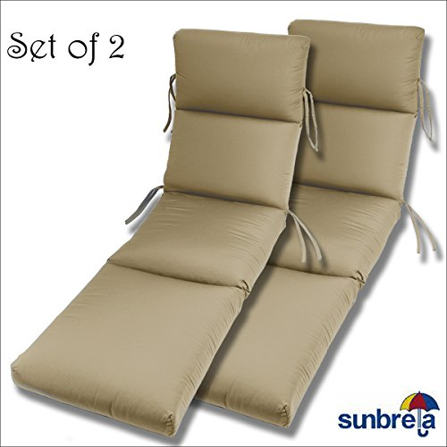 Comfort Classics Inc. Set of 2-22x74x5 Sunbrella Indoor/Outdoor Fabrics in Antique Beige CHANNELED Chaise Cushion