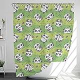 INNObeta Textil Duschvorhang mit 12 duschvorhangringe, antischimmel, wasserabweisend, wasserdicht, strapazierfähig, Bad Dekor, Maschinenwaschbar, 150x180 cm, Panda/Kinder, grün