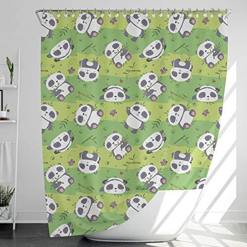INNObeta Textil Duschvorhang mit 12 duschvorhangringe, antischimmel, wasserabweisend, wasserdicht, strapazierfähig, Bad Dekor, Maschinenwaschbar, 120x180 cm, Panda/Kinder, grün