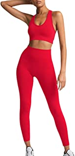 Women's Workout Outfit 2 Pieces Seamless Yoga Leggings with Sports Bra Gym Clothes Set Sportswear Suits