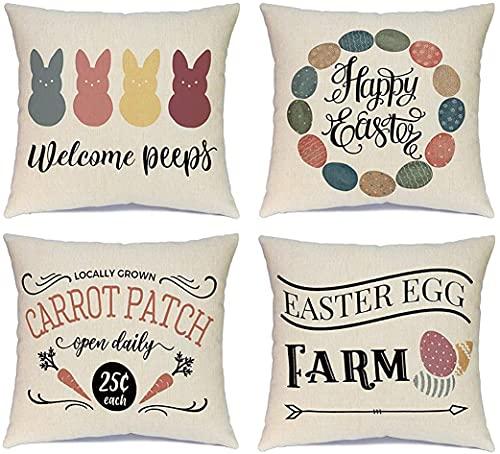Juego de 4 fundas de almohada decorativas de 50 x 50 cm, diseño de conejo de granja (multicolor, 50 x 50 cm)