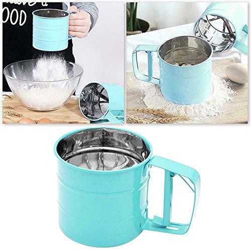 LZ Handheld Flour Shaker Edelstahl Mesh Sieb Tasse Pulver Mehl Sieb Puderzucker Backen Gebäck Werkzeug Handgepresste Siebe 1 Stück * grün