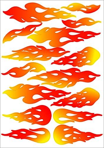 17 Aufkleber Flammen Fire Feuer Sticker Set für Auto, Fahrrad, Vespa, Scooter, Bobby Car