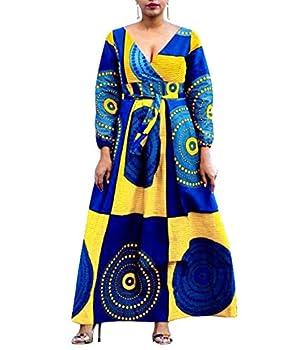 VERWIN African Print V Neck High Waist Color Block Evening Dress Wrap Maxi Dress Yellow XXL