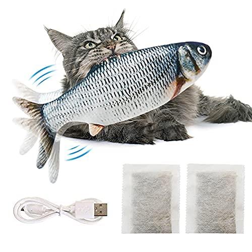Juguete de gato interactivo con peces electrónicos, juguete de gato, simulación en movimiento USB recargable | puesta en marcha