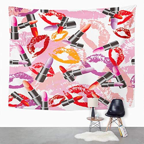 Y·JIANG Tapiz colorido, pintalabios de colores y labios cara beso, amor, dormitorio, tapiz decorativo grande, manta ancha para colgar en la pared para sala de estar, dormitorio, 80 x 60 pulgadas