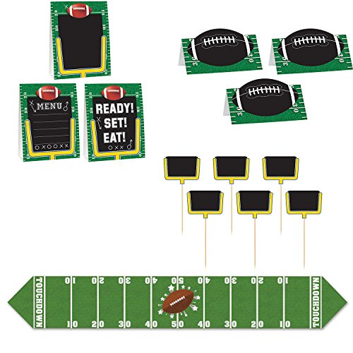 Football Party Decorations - Set of 6 ft Table Runner and 12 Buffet Food Labels