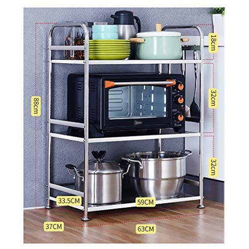 WSC 304 Stainless Steel Kitchen Rack Microwave Rack Floor Multilayer Pot Shelf Storage Oven Storage Cabinet Shelf (Size : 88cm×37cm×63cm)
