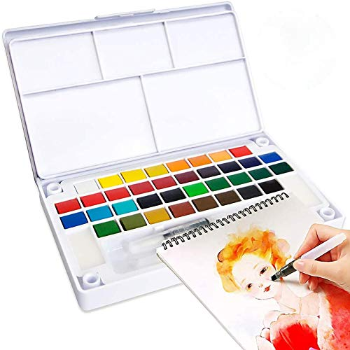 Kalolary 36 Assorted Colors Watercolor Field Sketch Painting Set, Portable Pocket Watercolor Painting Kit Perfect Watercolor Pan Set for Kids Adults Watercolor & Cartoons Painting, Gift Travel Case